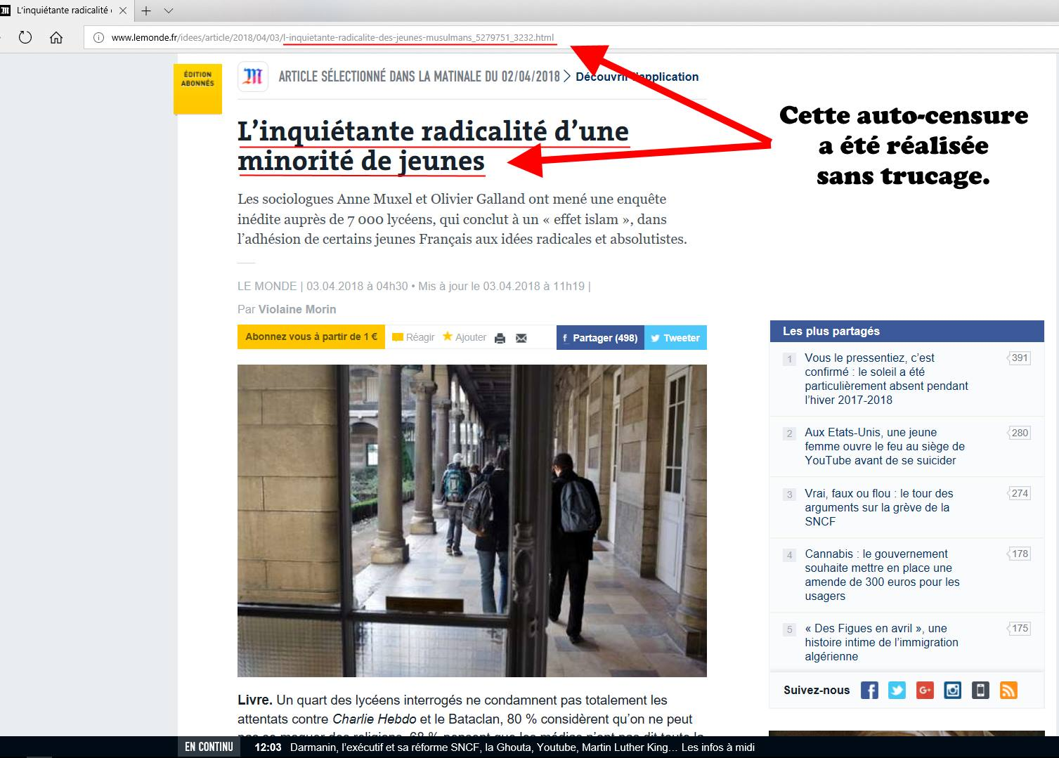 Le journal le monde et l'autocensure